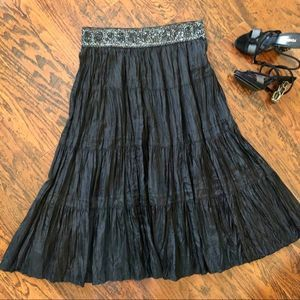 BCBGMaxAzria 100% Crinkle Silk Beaded Skirt